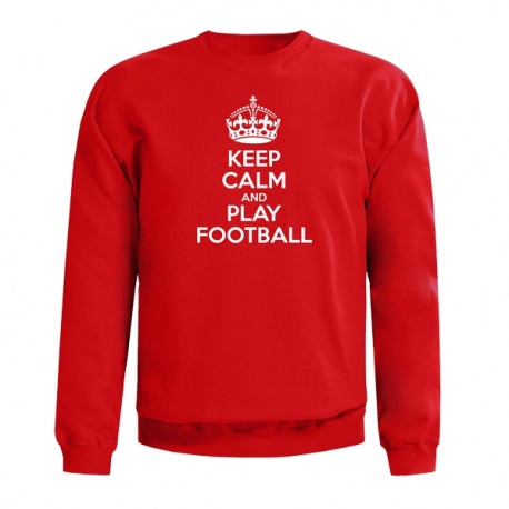 KEEP CALM AND PLAY FOOTBALL SWEAT - Mikina, červená