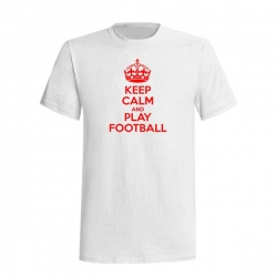 KEEP CALM AND PLAY FOOTBALL TEE - Tričko, bílá